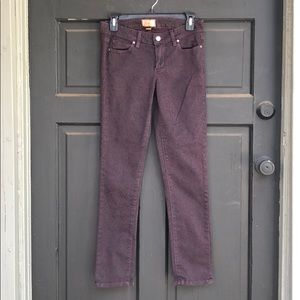 Paige Peg Skinny Plum Leopard Jeans